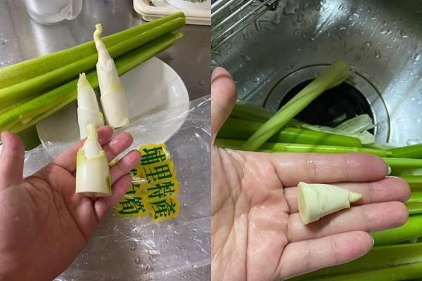 有網友分享,自己在全聯買了一包筊白筍,回家剝皮後才發現,裡頭的筍子都很短,甚至最短的一根還比原po的小母指短,讓她超傻眼。(圖擷取自「我愛全聯-好物老實說」)