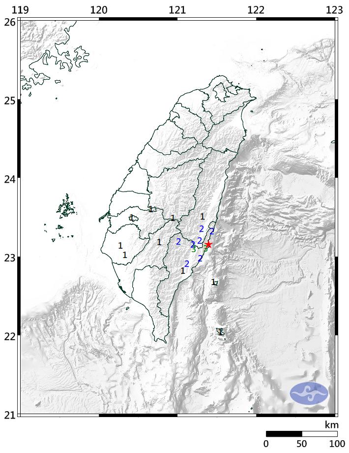 今天晚上6點50分台東發生地震,芮氏規模4.5,最大震度在台東為3級。(圖擷取自中央氣象局)