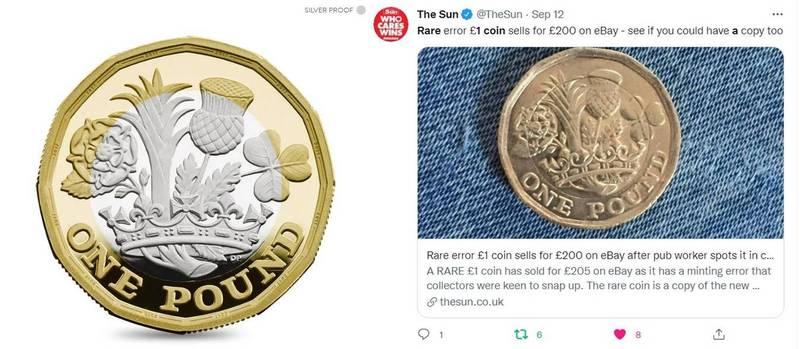 英國2017年出產的皇家精製銀幣(圖左),原本幣身中間應是銀色,但酒吧工作者卻意外找到一枚中間鑄成金色的NG硬幣(圖右),拍賣出新台幣7833元的好價錢。(圖擷取自英國皇家鑄幣廠、太陽報官方推特,本報合成)