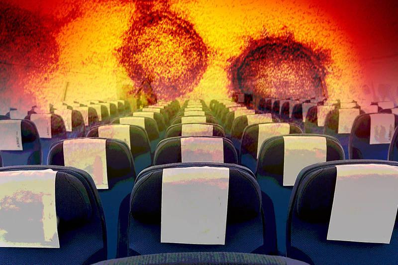 今日新增個案是在桃機工作的飛機客艙清潔人員,初步進行病毒基因定序已確定是Delta變異株。示意圖。(資料照、美聯社,本報合成)