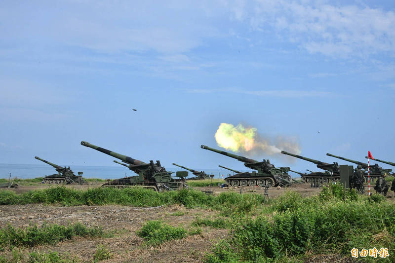 M110重砲進行漢光操演。(記者蔡宗憲攝)