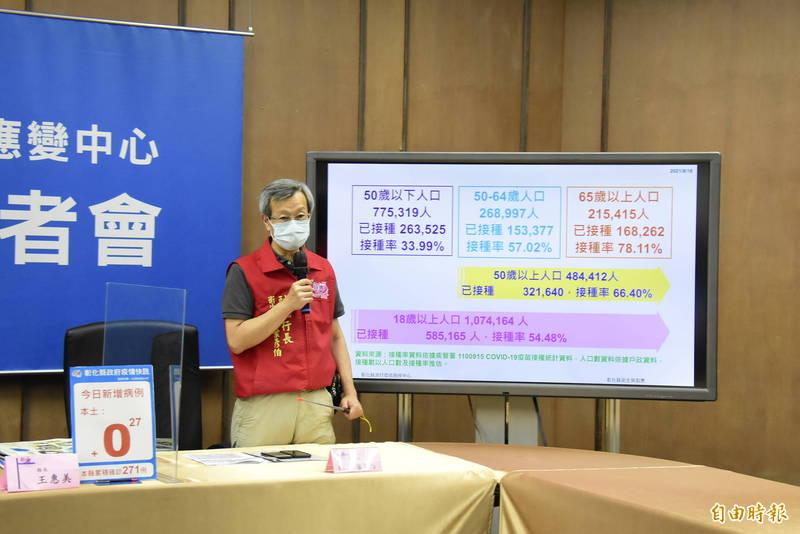 彰化縣衛生局長葉彥伯表示,避免接種站同一天打兩種疫苗,將採取醫療院所「同一天只打一種疫苗」對策。(記者劉曉欣攝)