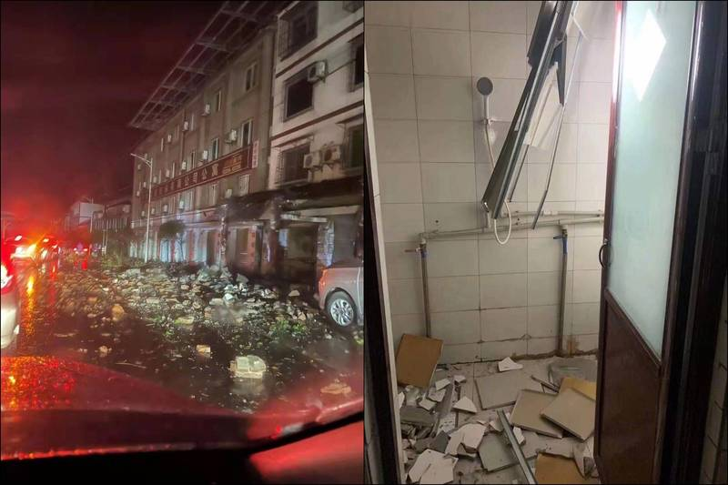 許多網友表示被地震晃醒,網友陸續PO圖回報當地災情,包含建築物出現裂縫、招牌被震垮、房屋天花板崩落、大片磁磚剝落等。(圖擷自微博)