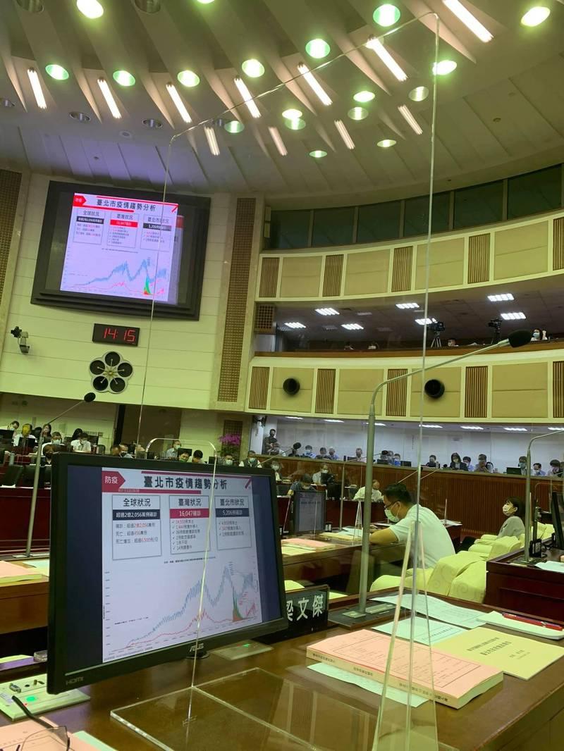 台北市議會新會期昨(15)日開議,為了防疫特別設置透明隔板。(擷取自李建昌臉書)