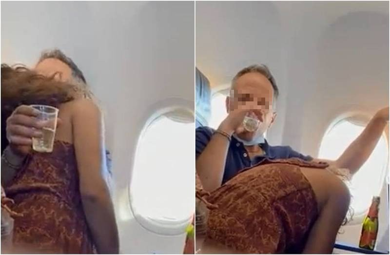 近日一名外國網友在推特上分享影片,指出搭乘愛爾蘭瑞安航空(Ryanair)時,竟遇到一對男女公然親熱,其中女方還低頭幫男伴不斷「吞吐」,影片中未有工作人員出面制止,誇張行徑全被錄下。(翻攝自推特)