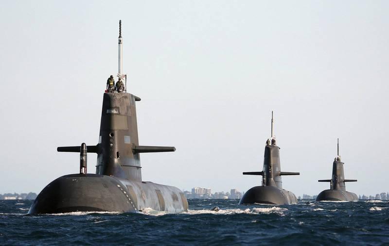美英澳成立「AUKUS」聯盟後,澳洲將獲得核子潛艦相關技術。圖為澳洲現役柯林斯級潛艦編隊。(路透)