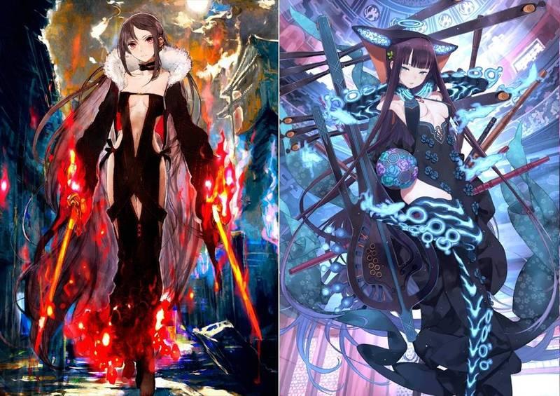 圖為FGO中虞美人(左)、楊貴妃(右)角色立繪。(截自遊戲)