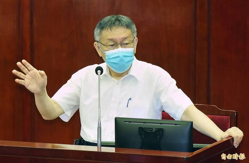台北市長柯文哲出席施政報告及質詢。(記者廖振輝攝)