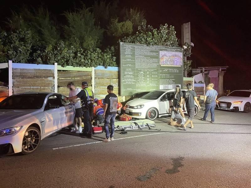 觀音快速路9段凌晨發生車禍,造成2行人死亡、3人受傷,事故原因由警方調查中。(記者鄭淑婷翻攝)