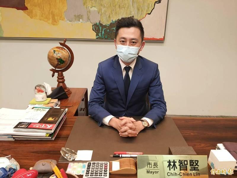 新竹市長林智堅倡議「竹竹合併」。(記者洪美秀攝)