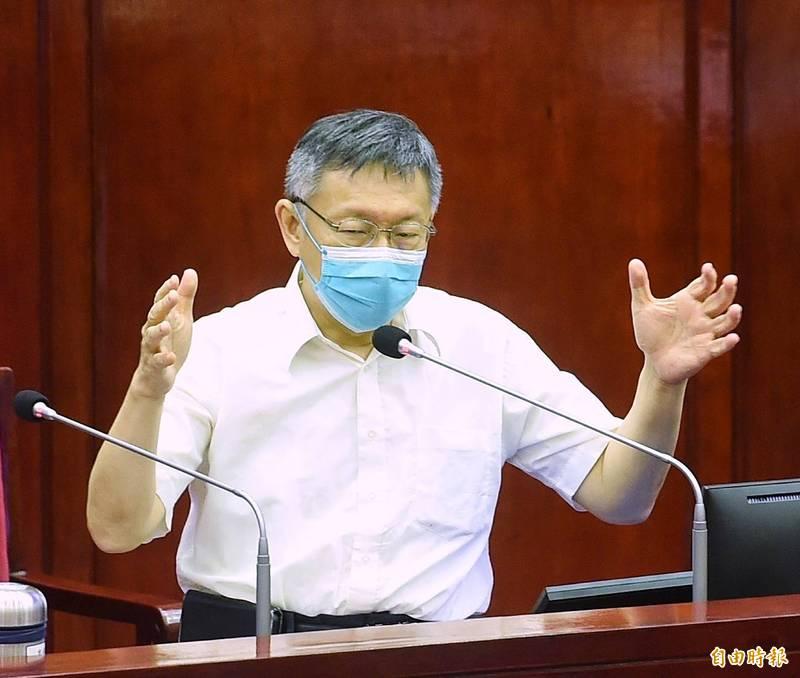 台北市長柯文哲今在議會備詢。(記者方賓照攝)