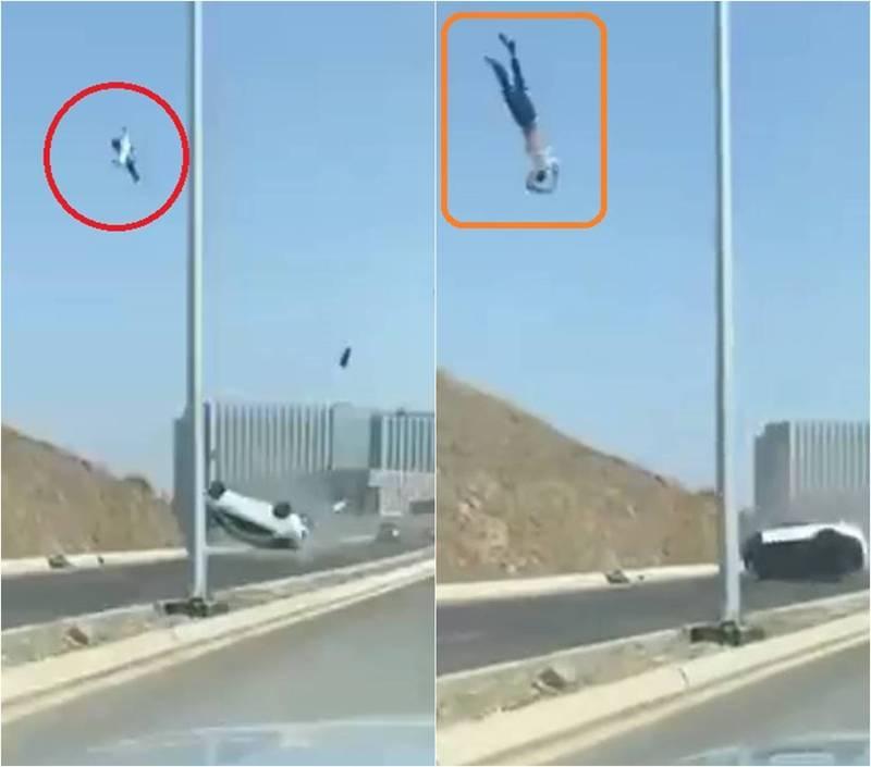 納瓦夫講師過彎不慎車子翻覆後,整個人被拋出車外數公尺高。(圖擷取自Vib0563推特)