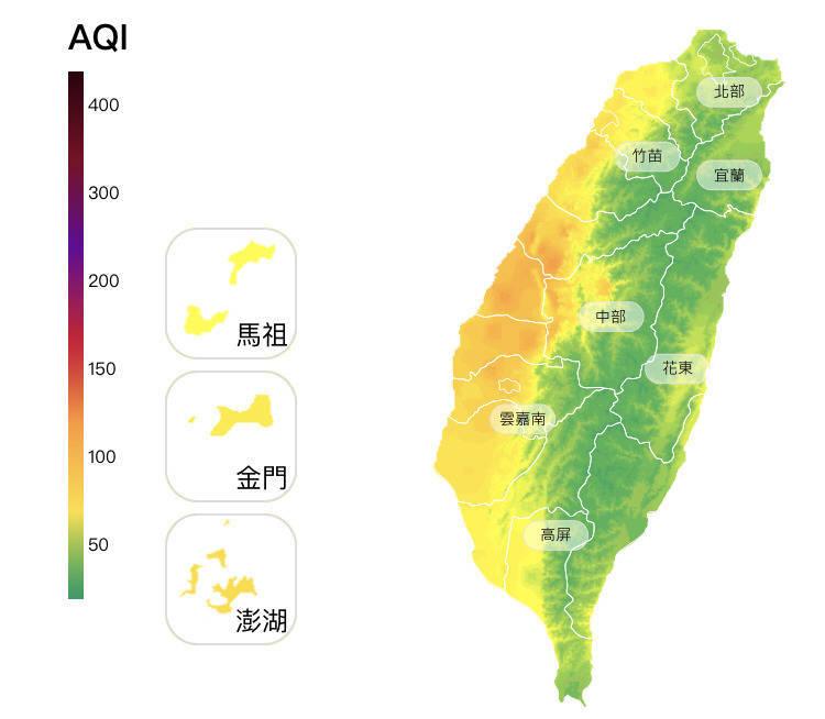 環保署空氣品質監測顯示,中部空品區為「橘色提醒」等級。(取自環保署空氣品質監測網)