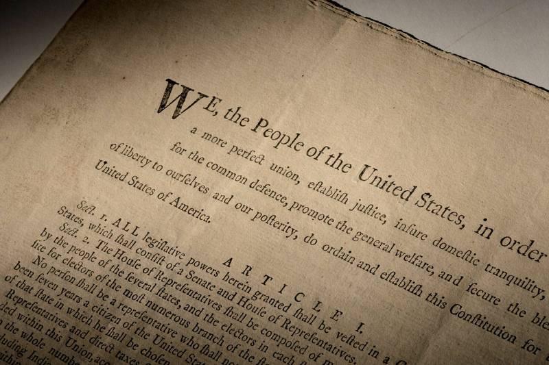 极稀有!1787年美国宪法正式首刷版 拍卖上看5.6亿台币