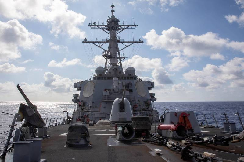 美國海軍第七艦隊今天凌晨主動公布,伯克級神盾驅逐艦「貝瑞號(USS Barry DDG-52)」昨天依據國際法例行通過台灣海峽。(取自第七艦隊官網)