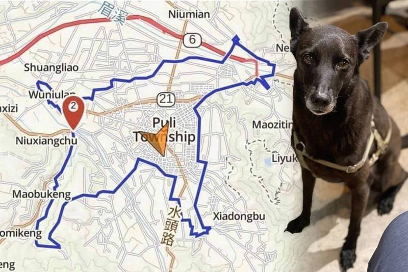 送行愛犬「波妞」最後一程,騎出30公里「狗狗路線圖」。(黃于華、王堯弘提供,本報合成)