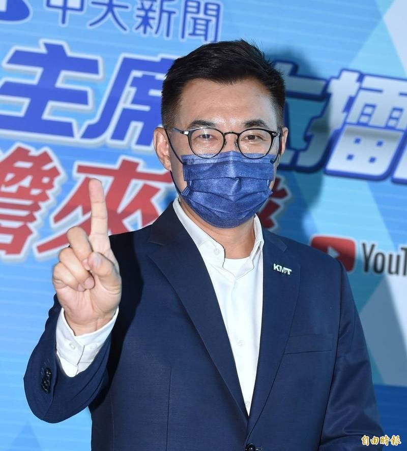 江啟臣說,今天他重回到中天電視台,實在有感而發,沒想到台灣的民主與言論自由,在號稱民主、進步的政黨執政後如此倒退。(記者劉信德攝)