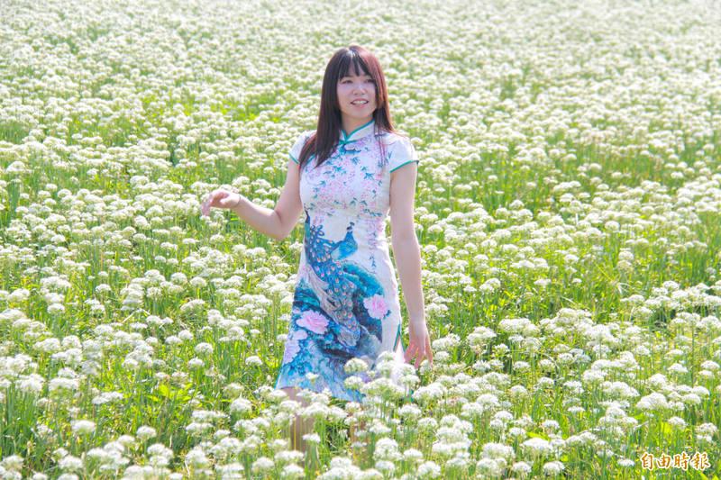 彰化田中一處棄收的韭菜花田盛開,乍看下就像白雪覆蓋一片,意外變成拍照祕境。(記者陳冠備攝)