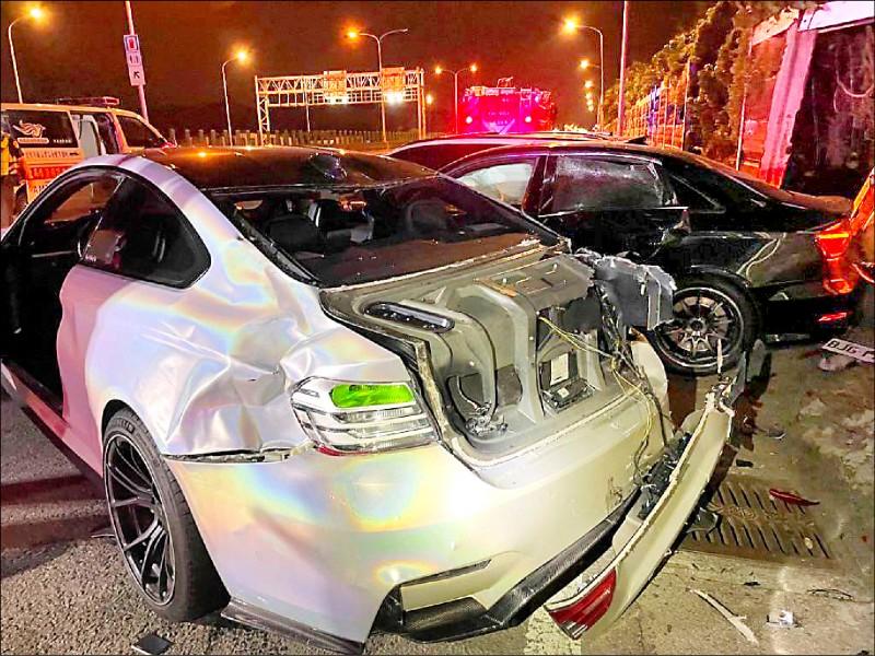 洪男涉嫌與邱男競速釀禍,他的BMW車尾後方撞凹。(資料照,記者鄭淑婷翻攝)