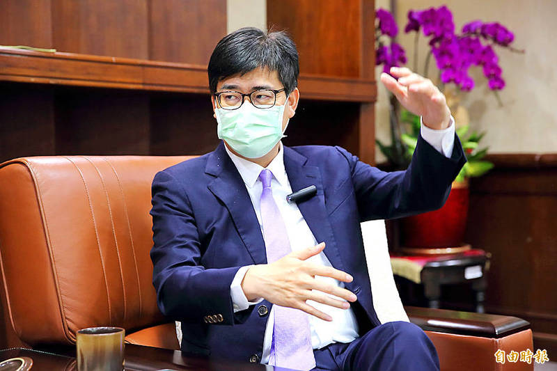 Kaohsiung Mayor Chen Chi-mai speaks in an interview in Kaohsiung on Friday. Photo: Lee Hui-chou, Taipei Times