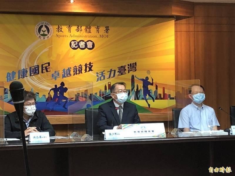前體育署長張少煕(中)於9月2日返回原借調之台師大,目前由教育部次長林騰蛟代理署長。(資料照)