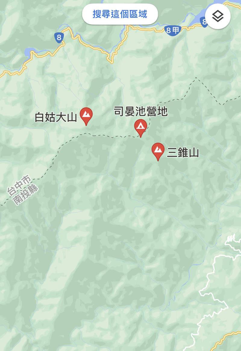 一支17人登山隊單攻白姑大山,其中1隊員在三錐山附近迷路失蹤,搜救人員已上山,直升機也起飛搜尋中。(圖擷自google地圖)