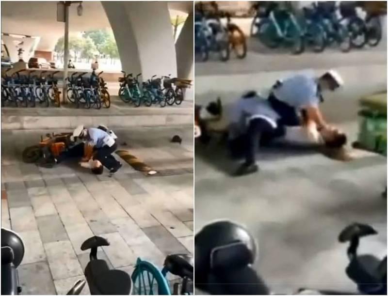 推特流傳這段廣州公安壓制一名電動車騎士的影片,過程中疑似也有使用「跪頸」的手段,讓網友質疑警方過度執法。(圖翻攝自推特)