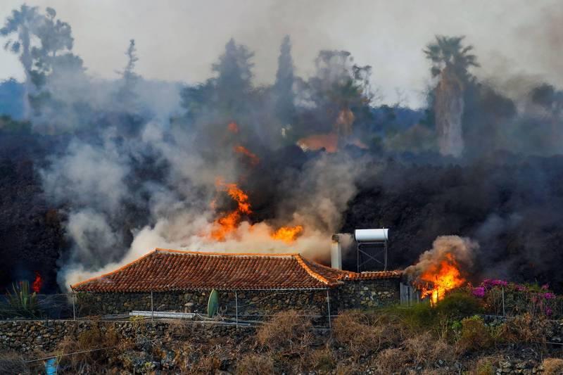 西班牙加那利群島拉帕爾馬島(La Palma)一座火山19日爆發,6公尺高的熔岩摧毀沿途經過的房屋、設施和農田。(路透)