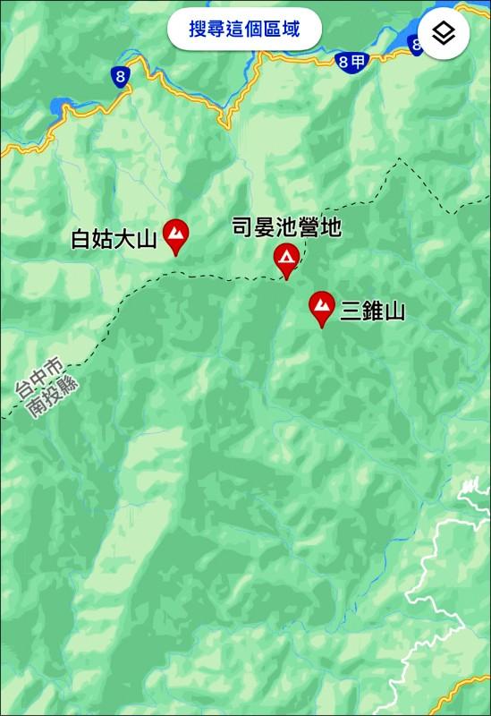 一支17人登山隊單攻白姑大山,其中1隊員在三錐山附近迷路失蹤。(圖擷自google地圖)