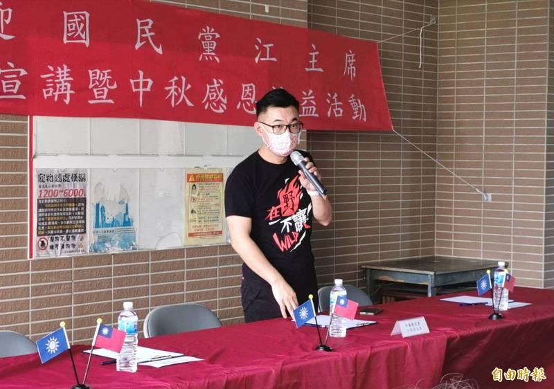 國民黨主席江啟到台南仁德的二空,與基層座談,爭取支持。(記者吳俊鋒攝)