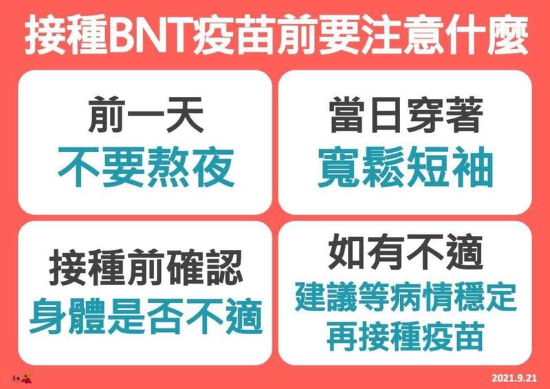 台南市明天起將陸續展開校園BNT接種作業,衛生局提醒即將接種疫苗的青少年前一晚切勿熬夜!(南市府提供)