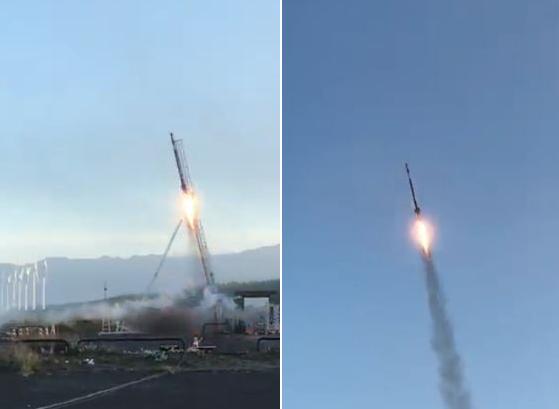 日本神奈川大學與該校學生設立的「宇宙火箭部」19日成功進行小型火箭試射。(擷取自推特影片)