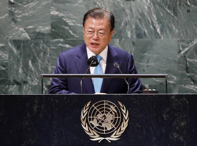 南韓總統文在寅目前正在訪問美國。圖為文在寅昨天(20日)出席聯合國活動時致詞。(美聯社)