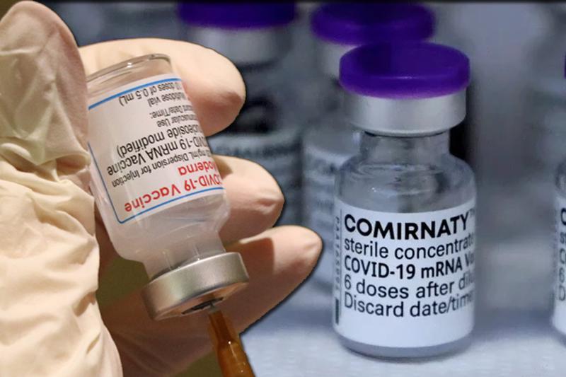 中央流行疫情指揮中心指揮官陳時中今透露,拿來當混打目標的疫苗,大概會以BNT提供最多,目前「莫德納+BNT」的混打組合已請專家進行討論,等BNT開打後會開始做本土研究。左為莫德納疫苗,右為BNT疫苗,示意圖。(本報合成)