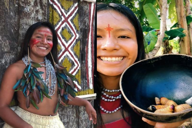 現年22歲的巴西原住民女孩塔圖約,時常透過影音平台分享許多雨林的日常生活,而她大啖雞母蟲的影片更讓她瞬間爆紅,至今已吸引超過600萬名粉絲。(圖擷取自cunhaporanga_oficial)