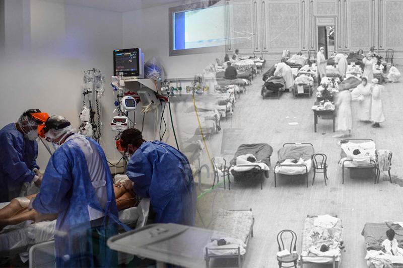 美國武肺死亡數已逐漸追上1918年時的西班牙流感死亡數,未來可能將超越。圖為現今美國重症加護病房與1918年美國加州奧克蘭地區臨時醫院今昔對比。(法新社、美聯社,本報合成)