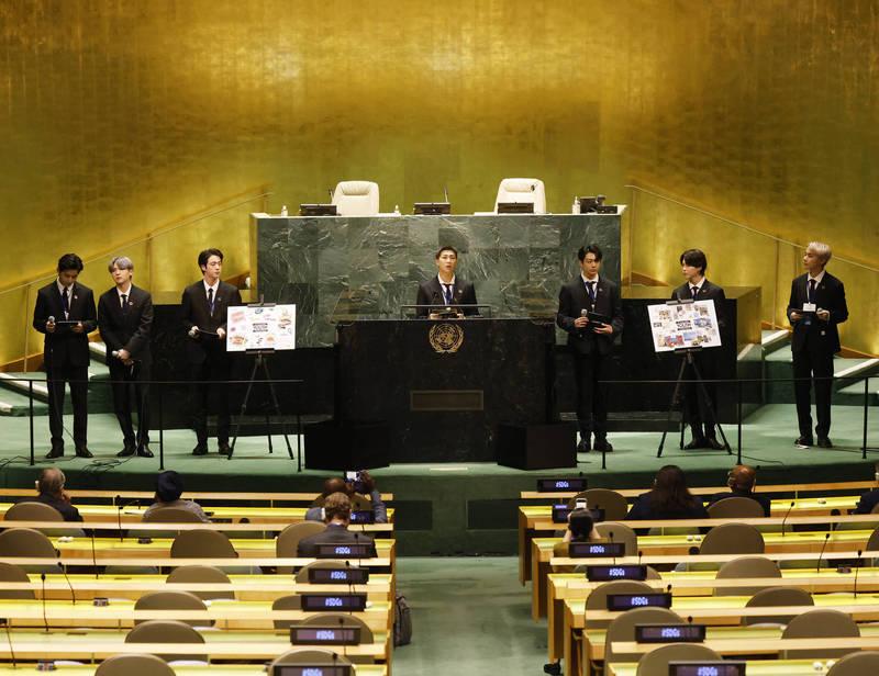 BTS防彈少年團以南韓總統特使、世界青年代表身分受邀出席在紐約聯合國總部舉辦的活動。(美聯社)