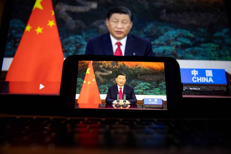 中國國家主席習近平在聯合國大會演說中提出減碳方案。(彭博)