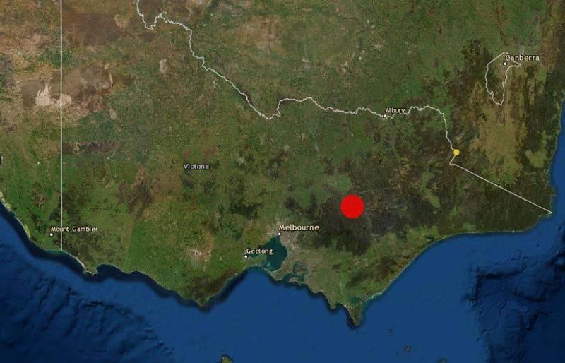 墨爾本東北部今早發生規模6.0強震。(圖擷取自澳洲地球科學局)