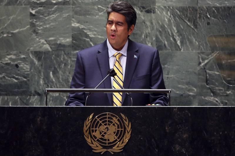 帛琉總統惠恕仁今天在聯合國大會總辯論以顯著篇幅聲援台灣。(美聯社)
