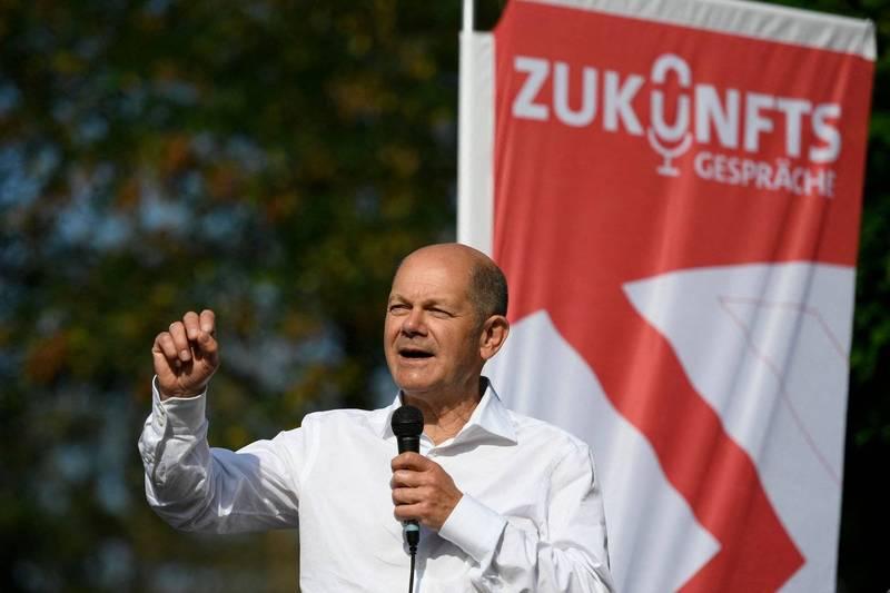 德國將在26日進行國會大選。民調專家席格爾表示,從民意趨勢來看,社民黨的贏面最大,蕭茲(見圖)最有可能出任總理。(法新社)