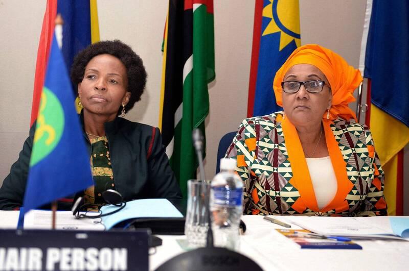 東非國家坦尚尼亞(Tanzania)首位女國防部長泰思(右)於本月13日就職上任。(法新社)