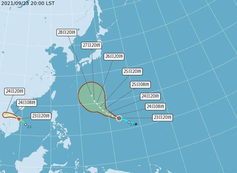 繼今年第15號颱風電母(左)今天下午2時生成,直撲越南,相隔6小時,第16號颱風蒲公英(右)今天晚間接力成形,朝日本前進。(中央氣象局提供)