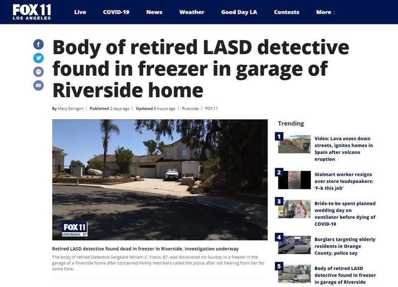 美國南加州1名87歲老婦特拉維斯(Miriam E. Travis),週日被發現陳屍住家車庫冰櫃內。(圖翻攝自《FOX 11》官網)