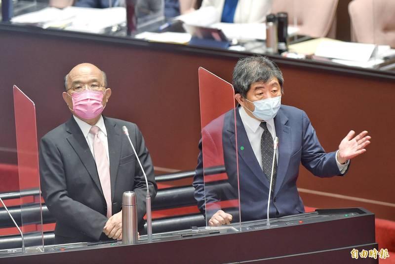 行政院長蘇貞昌今率部會官員到立法院進行紓困5.0報告並備質詢。(記者方賓照攝)