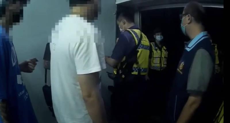 中秋連假23人相約自宅吃外送宵夜被檢舉,高市警方獲報前往未查獲不法,也未違反防疫規定,仍將蒐證影像送請衛生局審認。(警方提供)
