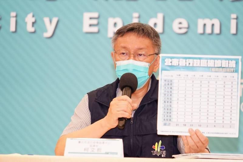 台北市長柯文哲說,疫情仍需要管制,現在可以弄到今天這樣,幾乎沒有不明感染源,已經很厲害,就剩邊境管制一定要管好、疫苗看怎麼解決。(台北市政府提供)