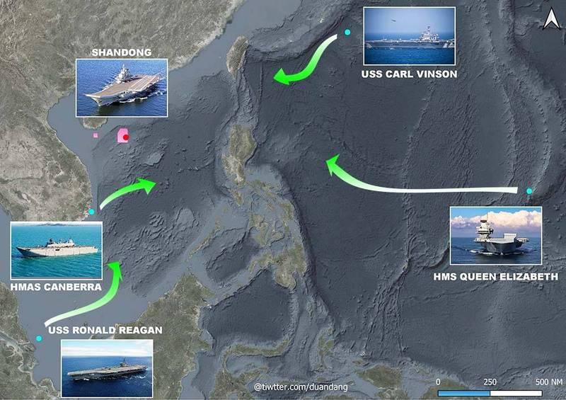 越南軍事記者段當指出,中國宣布明日起將在南海軍演,美國、英國、澳洲共逾7艘軍艦分別從不同方向朝軍演區域移動。(圖取自Duan Dang Twitter)