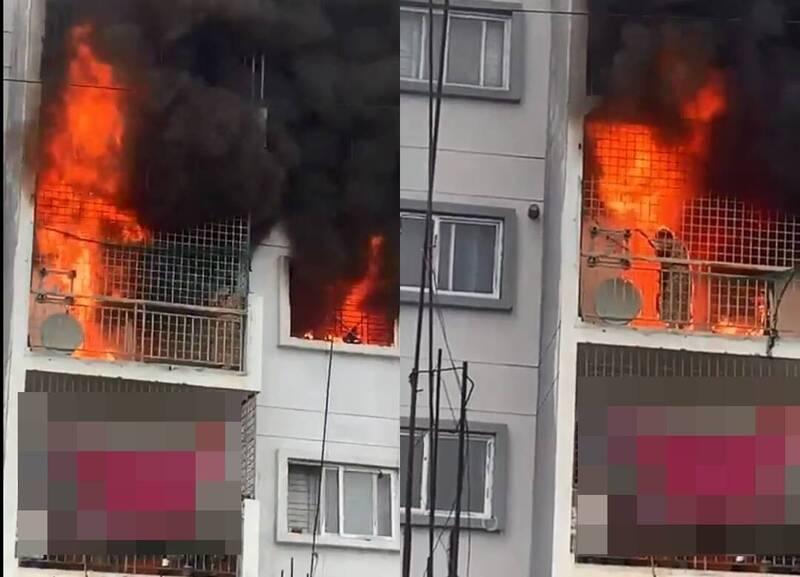 印度卡納塔卡邦近日發生一起火災事故,一對母女於住所公寓休息時突然發生火災,但因公寓鐵窗造成逃生路線封死,無法順利逃生,周圍鄰居與家屬只能看著她們活活葬身火海。(圖擷取自推特)