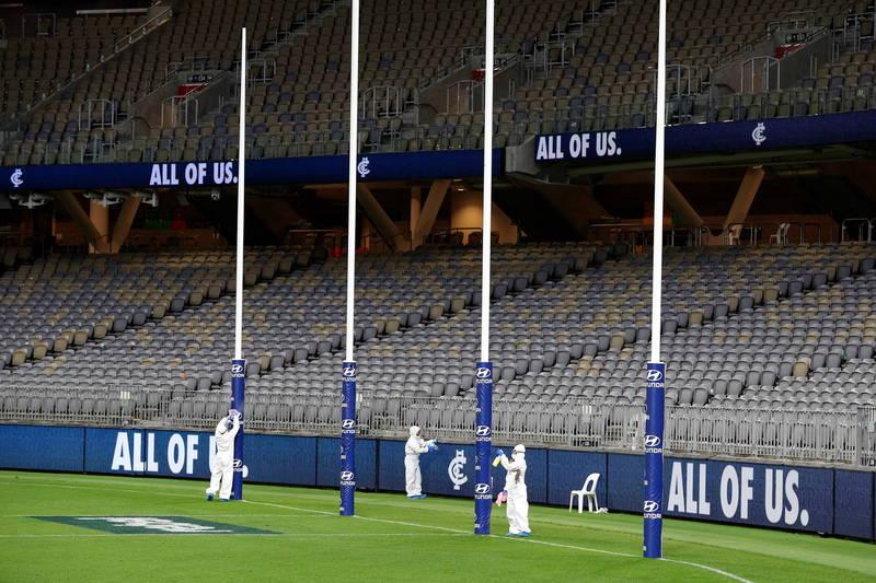 澳洲職業足聯的總冠軍賽,首次移師到西澳首府伯斯體育場(Optus Stadium)舉辦。(歐新社)